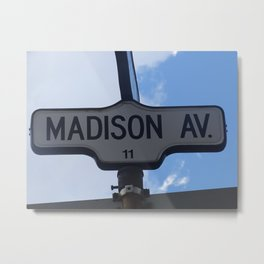 Madison Ave, Street sign photography, A gift for Madison Metal Print