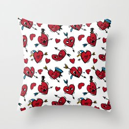 """Funny hearts"" Throw Pillow"