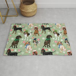 Coonhound Holiday Decorations Green Rug