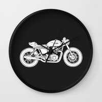 cafe racer Wall Clocks featuring Triumph Bonneville - Cafe Racer series #3 by Daniel Feldt