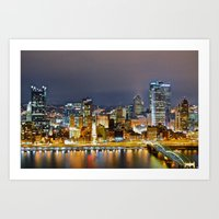 pittsburgh Art Prints featuring Pittsburgh by Rachel Bock