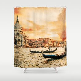 Grand Canal Channel Watercolor Digital Painting Shower Curtain