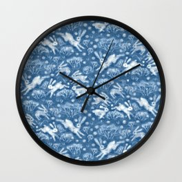 Hares Field, Winter Rabbits Bunnies Pattern Wool Texture Wedgewood Blue Wall Clock