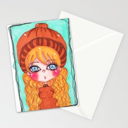 kawaii girl Stationery Cards