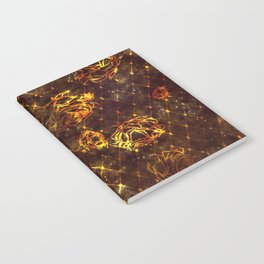 Diamond Rose Pattern - Maroon and Gold Notebook