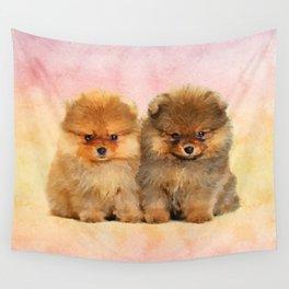 Cute Pomeranian Puppies Wall Tapestry