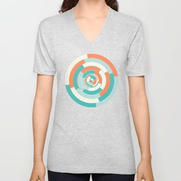 Spinning colourful rings on mint and pale yellow chessboard Unisex V-Neck