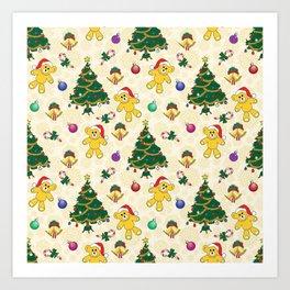 Christmas bear,bells and tree SB3 Art Print