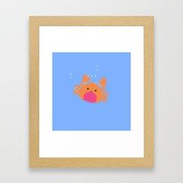 Orange Cartoon Crab Framed Art Print
