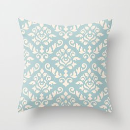 Damask Baroque Pattern Cream on Blue Throw Pillow