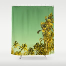 palm love in tropical green gold jewel tones Shower Curtain