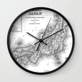 Vintage Map of Japan (1855) BW Wall Clock