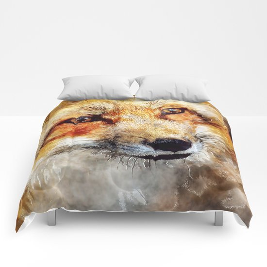 Fox animal nature wild forest-  watercolor illustration Comforters