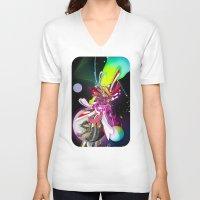 runner V-neck T-shirts featuring Splash Runner by Andre Villanueva