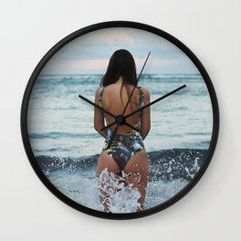 WOMAN - SEA - OCEAN - WATER - HAIR - BATHING - SUIT Wall Clock