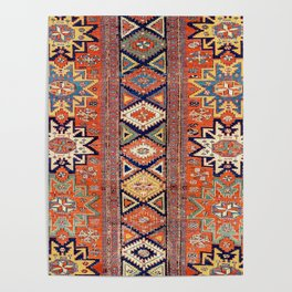 Southwestern Farmhouse III // 19th Century Colorful Red Yellow Blue Green Aztec Farm Stars Pattern Poster