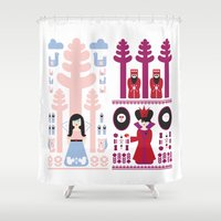 evil queen Shower Curtains featuring Good vs Evil: Snow White and the Evil Queen by Michelle Reaney