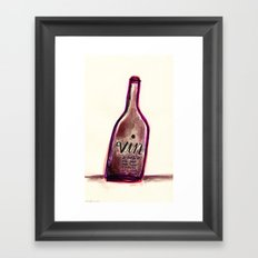 "Vin - A Bottle of Wine That Says ""Wine"" (& Painted with Wine) Framed Art Print"