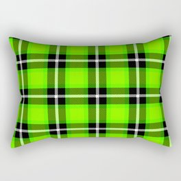 UFO GREEN Chartreuse (#7fff00) color themed SCOTTISH TARTAN Checkered Fabric Pattern texture Rectangular Pillow