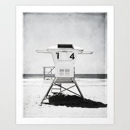 Black and White Beach Photography, Grey Lifeguard Stand, Gray Coastal Nautical Art Art Print