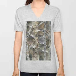 Birch Forest, an original watercolor painting Unisex V-Neck