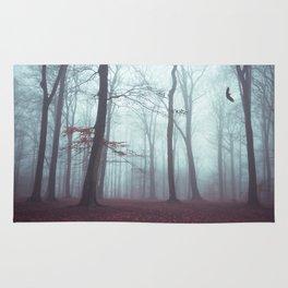 Solstice in Fog - Woodlands in Winter Mist Rug