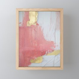 Melody: a pretty minimal abstract painting in gold pink and white by Alyssa Hamilton Art Framed Mini Art Print