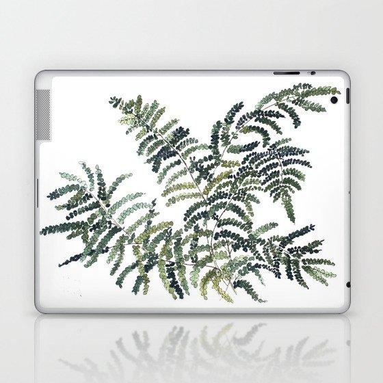 Woodland Fern Botanical Watercolor Illustration Painting Laptop & iPad Skin