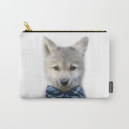 Baby Wolf With Bow Tie, Baby Animals Art Print By Synplus Carry-All Pouch
