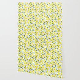 You're the Zest - Lemons on White Wallpaper