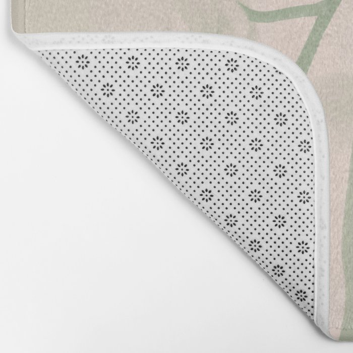 Flower branches on a pastel pink and green background - spring mood Bath Mat
