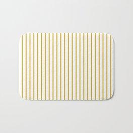 Primrose Yellow Pinstripe on White Bath Mat