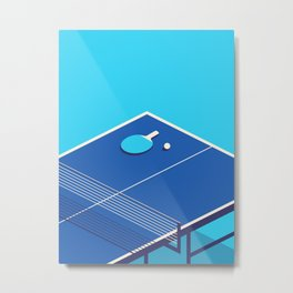 Table Tennis Isometric - Cyan Metal Print