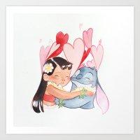 lilo and stitch Art Prints featuring Lilo and stitch  by Mashiiro (M. G.)