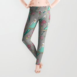 Budgie Birds With Blossom Flowers on Grey Leggings