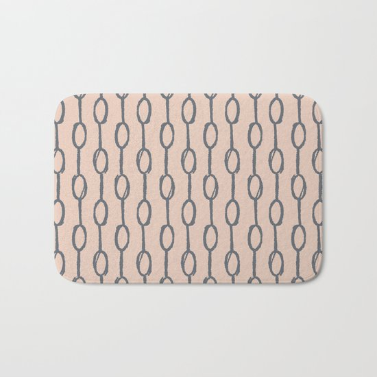 Pebble Dot Stripes Gray on Vintage Rose Pink Bath Mat