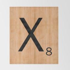 Scrabble Letter Tile - X Throw Blanket