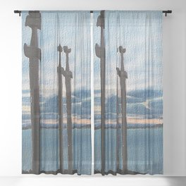 Three Swords - Stavanger Norway / Oil Painting Sheer Curtain