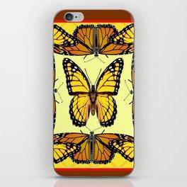 ORIGINAL DESIGN  ABSTRACT OF YELLOW & ORANGE MONARCH BUTTERFLIES BROWN ART iPhone Skin
