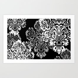 Black and Gray Damask Art Print