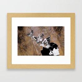 Long Gone Whisper II (street art graffiti painting, girl with butterflies) Framed Art Print