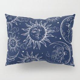 Blue Magic Celestial Sun Moon Stars Pillow Sham