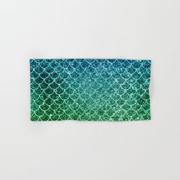 Mermaid Blue & Green Glitter Ombre Scales Hand & Bath Towel