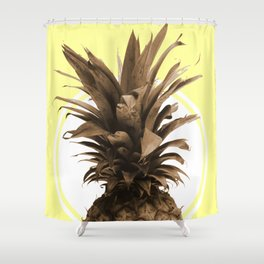 Pineapple Print - Tropical Poster - Botanical Print - Pineapple Wall Art - Yellow, Golden - Minimal Shower Curtain