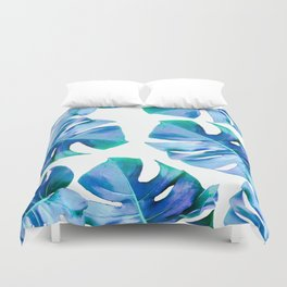 Monstera exotica - azure Duvet Cover