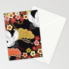 Japanese crane bird hand drawn illustration pattern on dark background.  Stationery Cards