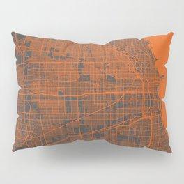 Chicago map orange Pillow Sham