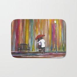 Love in the Rain romantic painting by Manjiri Kanvinde Bath Mat