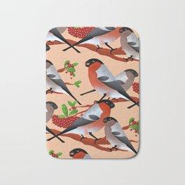 Bullfinch and berries Bath Mat