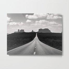 Black & White Monument Valley Desert Road Metal Print